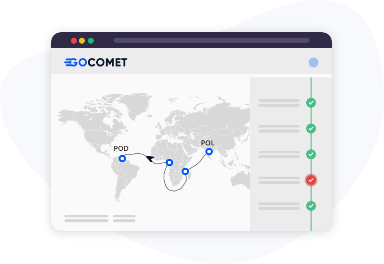 GoComet's container tracking module for autocapturing status of your shipments in real-time.